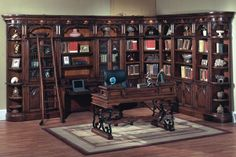 I would so rock this if I had a bedroom house and could have my own personal library/home office. Parker House Barcelona Library Corner With 2 Piece Library Desk and Writing Desk at Hayneedle Library Furniture, Bar Furniture, Home Office Furniture, Dream Furniture, Unique Furniture, Library Corner, Library Wall, Dream Library, Corner Wall