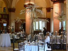 And the ceremony...The trees were used for centerpieces on silver sequined overlays.