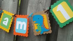 I am 1 Dinosaur Birthday Banner I am One by LittleMissStarchick