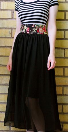 DIY Clothes DIY Refashion  DIY Chiffon Skirt Remake and Jersey Dress to Skirt