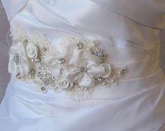 Ivory Bridal Sash, Organza Wedding Belt, White, Champagne or Ivory Rhinestone and Pearl Flower Sash with Alencon Lace - SUMMER COTTAGE