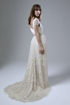 Back view of the Swan tulle petal skirt and Swan crepe scoop neck tee with chantilly lace sleeves by Halfpenny London