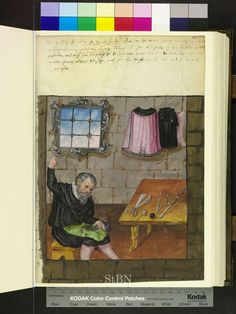Amb. 279.2 ° Folio 83 recto. There is an awl on the table!