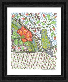 A personal favorite from my Etsy shop https://www.etsy.com/listing/497027779/zumbador-hummingbird-mixed-media
