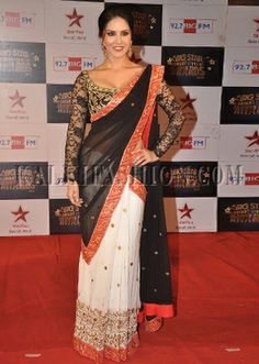 Sunny Leone in White and Black Designer Saree