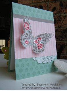 Stampin' Up! Floral Wings card, Painted Petals, Butterflies thinlits dies