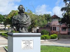 A bust in King George V Gardens in Castries on St. Lucia, Eastern Caribbean, recalls the Marquis de Castries for whom the city is named. Gabriel, King George, Marquis, Statue Of Liberty, Caribbean, Garden Sculpture, Gardens, City, Outdoor Decor