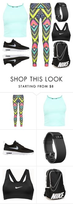 """Gym Day"" by izzy-maddi ❤ liked on Polyvore featuring Mara Hoffman, NIKE and Fitbit"