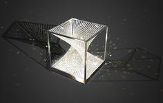 eva menz design chandelier vortex lamp crystal tension wire square cube