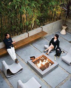moderner garten vorgarten gestaltung offene feuerstelle