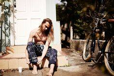 Pama in Clyde Blueprint PJ pant #campbellandhall #pj #pants #blueprint #surfer