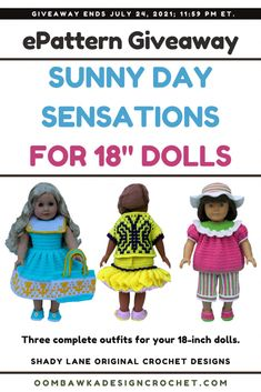 Sunny Day Sensations for 18-Inch Dolls Sunny Day Sensations ePattern - Shady Lane Pattern Review and Giveaway Ends: July 24, 2021 at 11:59 pm ET. Not affiliated with Facebook or Instagram. Half Double Crochet, Single Crochet, Crochet Designs, Crochet Patterns, Potholder Patterns, Dk Weight Yarn, Button Flowers, Complete Outfits, 18 Inch Doll