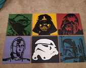 Star Wars Characters Acrylic Paintings: Darth by TheLittleGeekery Star Wars Baby, Star Wars Zimmer, Images Star Wars, Cuadros Star Wars, Star Wars Bedroom, Star Wars Painting, Star Wars Decor, Love Stars, Star Wars Characters