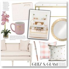 Gliz & Glam Home Office by katrinaalice on Polyvore featuring interior, interiors, interior design, home, home decor, interior decorating, Safavieh, Sugar Paper, 10 Strawberry Street and Howard Elliott