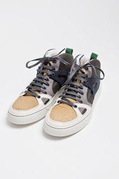 Lanvin - Mid Top Sneaker Textured Grey