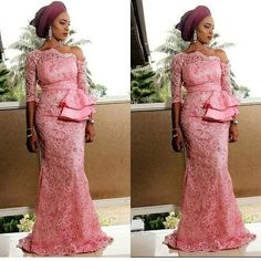 Latest Aso Ebi Styles For the Weekend Nigerian Lace Dress, Nigerian Lace Styles, Aso Ebi Lace Styles, African Lace Styles, Lace Dress Styles, African Lace Dresses, Latest African Fashion Dresses, African Dresses For Women, African Wedding Attire