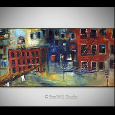 Abstract CITYSCAPE Painting LARGE Original City Acrylic by benwill, $360.00