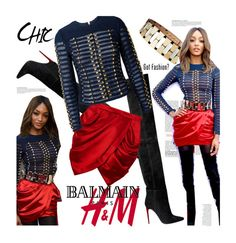 """Balmain for H&M collaboration"" by julesdiaries ❤ liked on Polyvore featuring H&M, Balmain, Anja, HM, balmain, jourdandunn, collaboration and hmbalmaination"