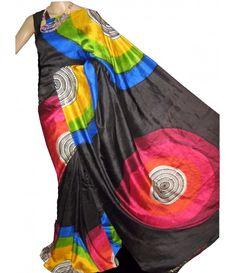 Black Multi Handloom Block Printed Murshidabad Silk Saree