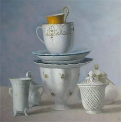 "Olga Antonova, ""White Cup Composition with One Yellow,"" 24x24 inches"