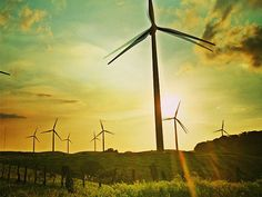 The wind farms are an important part of Costa Rican economy and culture.  Also important: the sunsets.