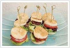 Mini bacon, lettuce and tomato sandwiches. Country Style BBQ Rehearsal Dinner by Alchemy Fine Events www.alchemyfineevents.com #BLT #rehearsaldinner #sandwich