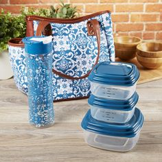 Westerly Insulated Lunch Bag Kit with Reusable Container Set & Matching Water Bottle