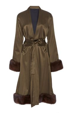 M O Exclusive Fur-Trimmed Silk Midi Robe by GRACE FULLER Now Available on.  Moda Operandi e28feb08abf
