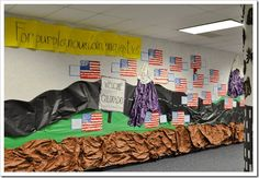 "Each year the grade levels at this school choose a theme to decorate their hallways with.  This is from the ""America the Beautiful"" theme.  Totally awesome!"