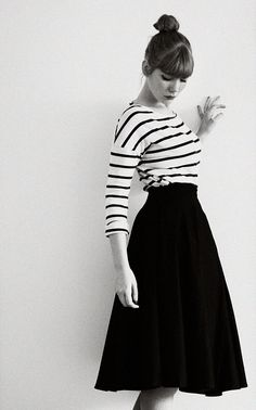 Black & white striped shirt and solid black full midi skirt