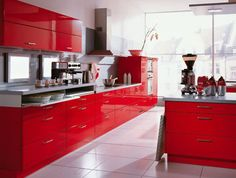 The red cabinets are awesome, I never thought I would like bright red cabinets. #zincdoor #interiordesign