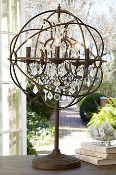 Iron Sphere Table Lamp from Soft Surroundings on Catalog Spree Farmhouse Lamps, Farmhouse Lighting, French Farmhouse, Farmhouse Office, Country Farmhouse, Rustic Table Lamps, Chandelier Lamp, Chandeliers, Bathroom Chandelier
