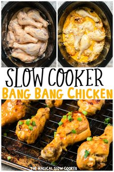 Make this unique slow cooker recipe for bang bang chicken drumsticks! Bang bang sauce is an addicting creamy sweet and spicy sauce. - The Magical Slow Cooker Sweet And Spicy Sauce, Sweet And Spicy Chicken, Slow Cooker Recipes, Cooking Recipes, Healthy Recipes, Slow Cooker Dinners, Vegetarian Crockpot Recipes, Cooking Dishes, Healthy Slow Cooker