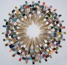 Wreath-inspired interpretation using paint brushes. Creative!