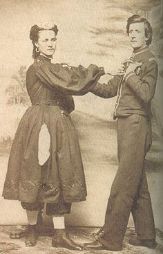 Woman wearing gymnast uniform, c. Daughter Of The Regiment, Historical Clothing, Historical Dress, The Sporting Life, Bathing Costumes, Civil War Dress, 1800s Fashion, Victorian Costume, Victorian Women