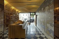 The Cool Hunter - Food It is all about bread. And of course, about design, wonderful curving wood slats infusing light and warmth into the tiny space. Created by March Studio, also responsible for a number of Aesop store interiors. Interior Architecture, Interior And Exterior, Interior Design, Interior Shop, Commercial Design, Commercial Interiors, Design Comercial, Plane Design, Store Interiors