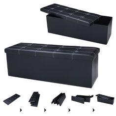 Sitzhocker Sitzwürfel Sitzbox faltbar Sitzbank Sitztruhe Sitzkasten Polsterhocker Leder Truhe Aufbewahrungsbox Fuß Bank 114 x 38 x 38cm (Schwarz)