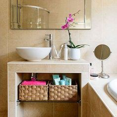 Looking for bathroom storage ideas? Bathroom storage is key to a successful bathroom makeover. Take a look at these bathroom storage hacks Bathroom Design Small, Modern Bathroom, Small Bathrooms, Bathroom Ideas, Bathroom Vanities, Family Bathroom, Bathroom Remodeling, Quirky Bathroom, Bathroom Table