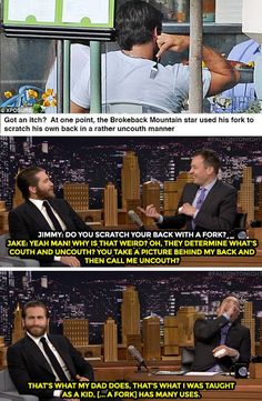 The Tonight Show Starring Jimmy Fallon Page Liked · 4 hrs ·     Jake Gyllenhaal has no regrets about his multi-purpose fork use.   Watch more: https://www.youtube.com/watch?v=i9RGaQpbN68
