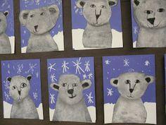 ARTventurous: Polar Bears Wonderful blog! Darling Polar Bear Art! Great for a classroom or for parents and kids at home as art activity!