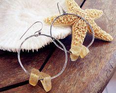 Greek earrings hoop stone earrings raw stone by CarmelaRosa