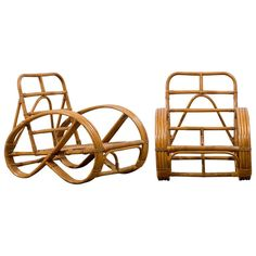 1960s Mid Century Frankl Style Ficks Reed Rattan Chair