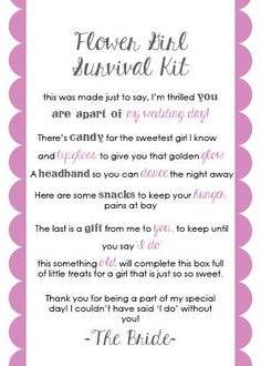 Flower Girl Survival Kit Card