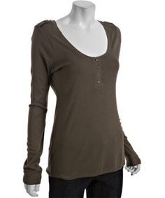 $45 Fatigue Cotton-Modal Scoop Neck Henley Tee from bluefly.com