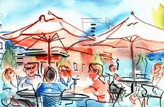 "Summer Afternoon at Natty Greene's by Brenda Behr Watercolor ~ 6"" x 9""  Greensboro, NC"