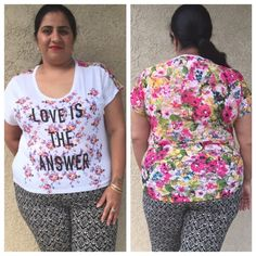 """Final price Plus size short sleeves floral print Love Is the Answer"""" along with scoop neckline and short sleeve styling. Featuring dipped hemline, the sheer back has gorgeous floral print all over that adds appeal to the overall top in high low style . Made in USA  100% rayon.    1x measures pit to pit :24 length : 22 front and 28 back .  2x measures pit to pit :26 length : 22 front and 28 back . Tops Blouses"""