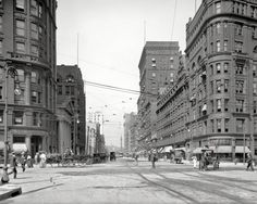 """Circa 1905. """"Euclid Avenue, Cleveland."""" Our title is a callout to Mme. K. Peal, dealer in HUMAN HAIR GOODS: POMPADOURS, SWITCHES, WIGS. 8x10 inch dry plate glass negative, Detroit Publishing Company."""