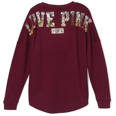 Victoria's Secret PINK Bling Sequin Ombre Varsity Crew Pullover Maroon ($75) ❤ liked on Polyvore featuring tops, sweaters, crew sweater, crew neck pullover, crewneck pullover, ombre sweater and maroon sweater