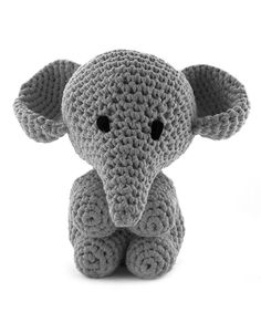 Hoooked Large Elephant Mo stone grey amigurumi crochet kit & pattern #crochet #gift #cute #animal #craft