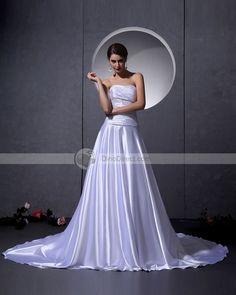 Satin Bead Ruffle Embellishment Strapless Chapel A-Line Bridal Gown Wedding Dresses